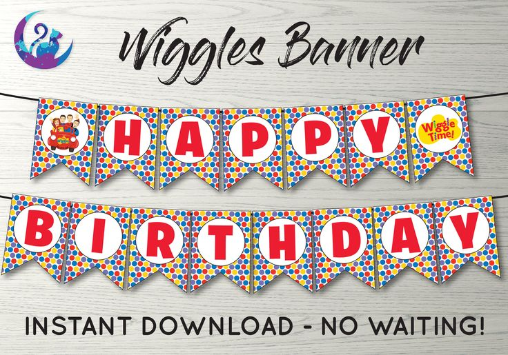 Wiggles Banner, Wiggles Bunting Banner, Wiggles Party Decoration, Wiggles Birthday Party Banner, Wiggles Happy Birthday Sign, Wiggles Sign by ArtyLunaDesigns on Etsy https://www.etsy.com/ca/listing/566333107/wiggles-banner-wiggles-bunting-banner