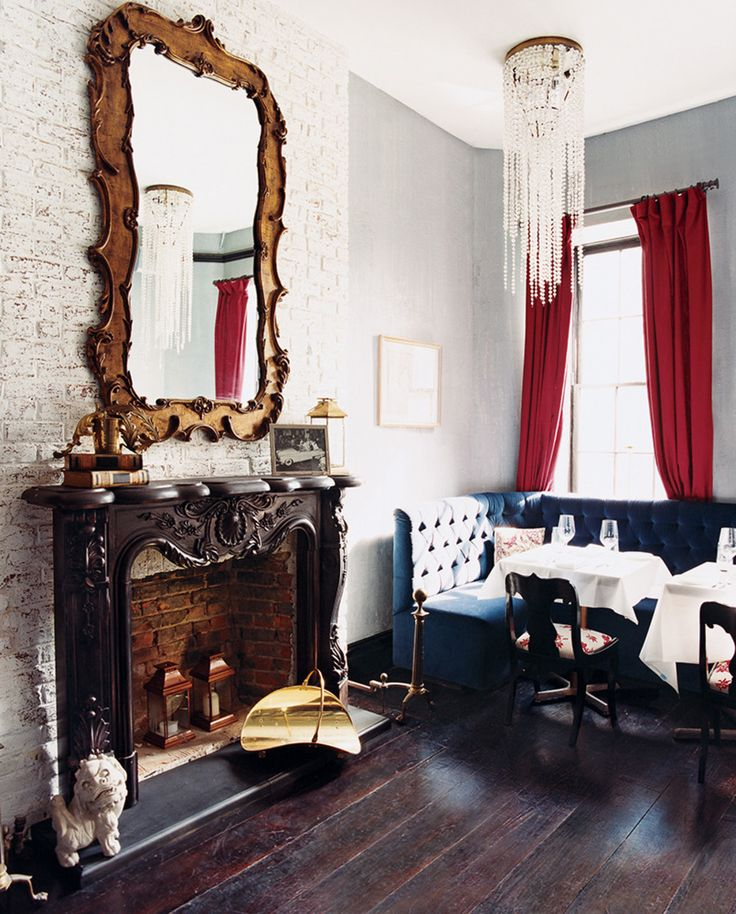BOBO restaurant, NYC. styled as a comfortable livingroom where you are having friends over for dinner in your beautiful house