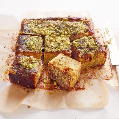 Sticky pistachio cake with seville orange syrup... Definitely worth a try