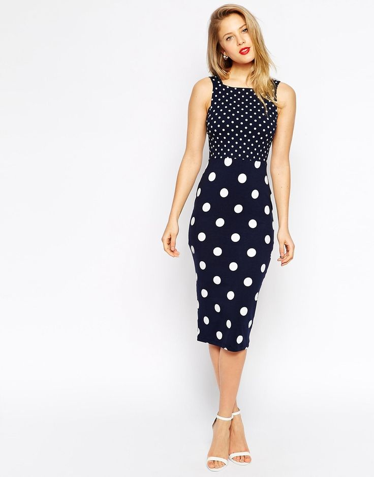ASOS Polka Dot Midi Strap Back Body-Conscious Dress