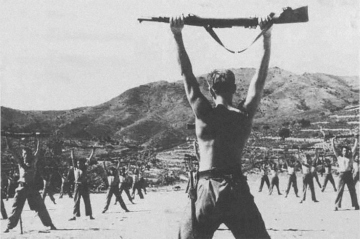 Americans Canadians and Cubans train in the all-volunteer International Brigades to fight for the Second Spanish Republic during the Spanish Civil War 1930s [1200x800]