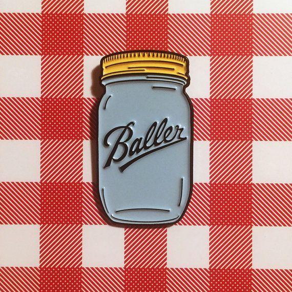 Baller Enamel Pin or Refrigerator Magnet by DanGrissom on Etsy