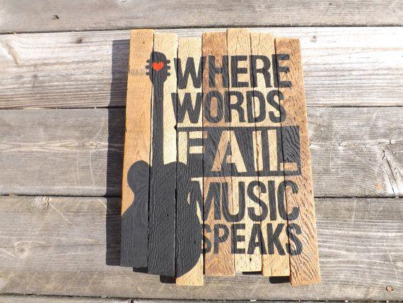 Where Words Fail Music Speaks Guitar Painting on by MookieWoodArt