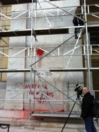 Graffiti! Bank of Greece Athens. ARD Reporter are filming our works