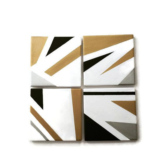 White gold and black geometric metallic coasters  waterproof perfect for both hot and cold beverages