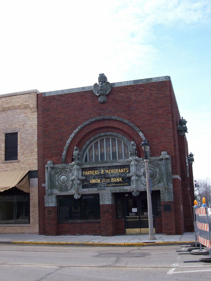"""The Farmers and Merchants Union Bank in Columbus, Wisconsin, also known as Farmers' and Merchants' Union Bank, is the last of eight """"jewel box"""" bank buildings designed by Louis Sullivan, and the next to last to be constructed."""