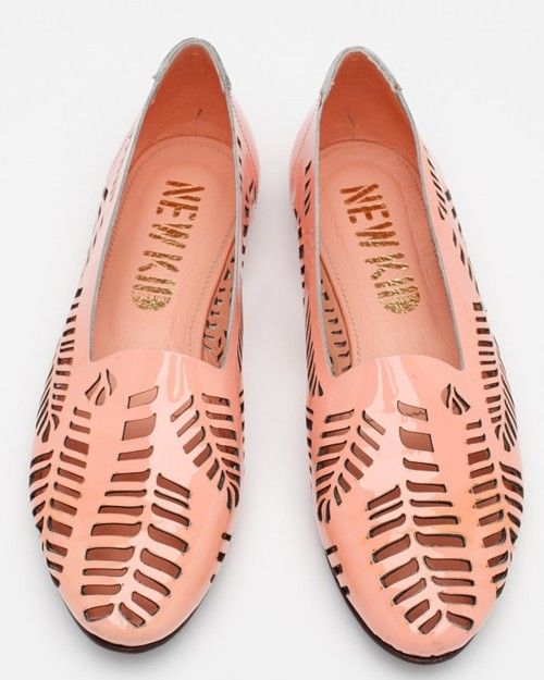 New Kid loafers flats pink patent cut-out