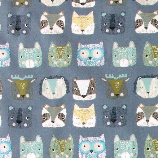 Bomull blå abstrakta djuransikten
