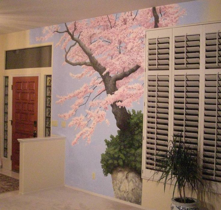 Cherry Blossom Wall Mural | These Are The Latest Of Interior Wall Mural And  Faux Paintings. | Bedroom | Pinterest | Faux Painting, Cherry Blossoms And  ...