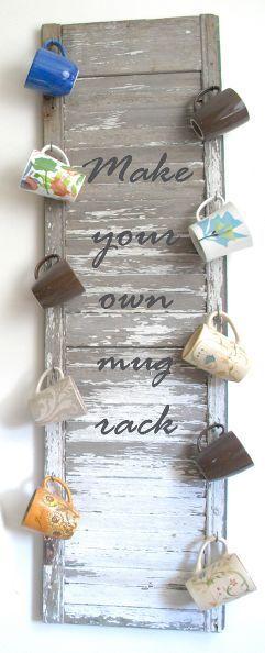 Repurpose an old shutter as a decorative mug rack