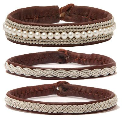 Soft leather. Braided pewter. Button clasp. Sami bracelets and cuffs available at OM. www.facebook.com/shopatom