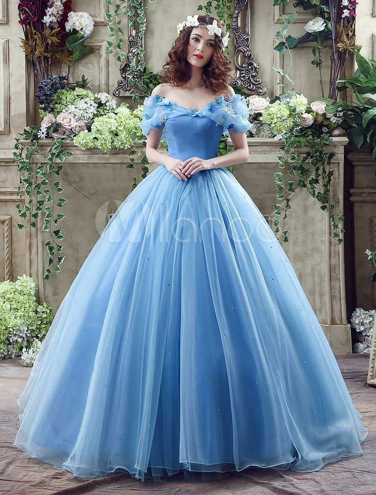 Cinderella Dress Blue Organza Tulle Off the Shoulder Ball Gown Dress with Chapel Train