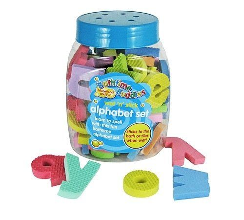 From 7.99:Bathtime Buddies Alphabet Foam Letters Set Wet Stick And Play Includes 65 Letters And Handy Net Storage Bag