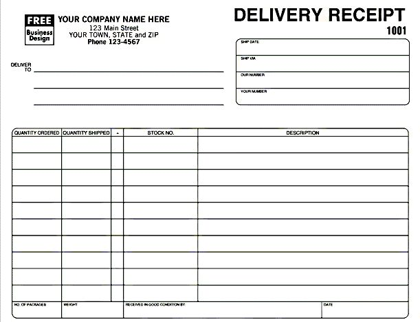 Delivery Receipt Template in Excel Format Excel Project - delivery order form