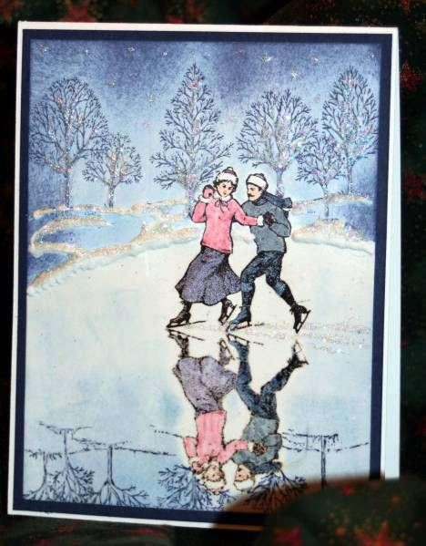 Winter Skate Scene by Stampin' Kari - Cards and Paper Crafts at Splitcoaststampers winter post; lovely as a tree
