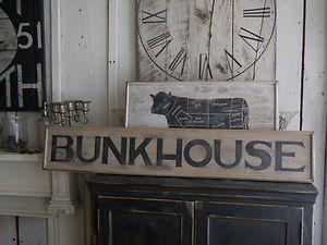 Primitive Wooden Sign BunkHouse Bunk House Cowboy Ranch wood sign