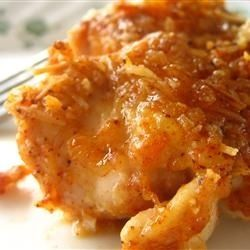 Baked Parmesan Paprika Chicken - There's only one word to describe this dish...WOW! I followed the directions as written and it turned out beautiful. I used freshly grated parmesan, and the only thing I did diffrently was to grate a little extra on top of the chicken right before baking,,