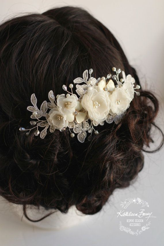 R780 Lee Floral Lace Bridal hair comb  by KathleenBarryJewelry
