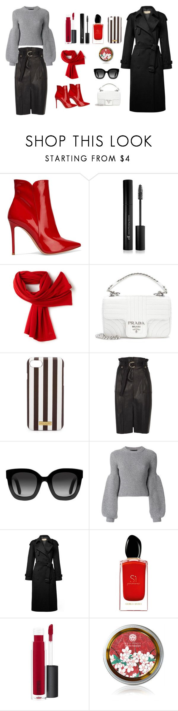 """Scarf and boots in one colour"" by polychampion-805 ❤ liked on Polyvore featuring Gianvito Rossi, Forever 21, Lacoste, Prada, Henri Bendel, River Island, Gucci, Alexander Wang, Burberry and Giorgio Armani"