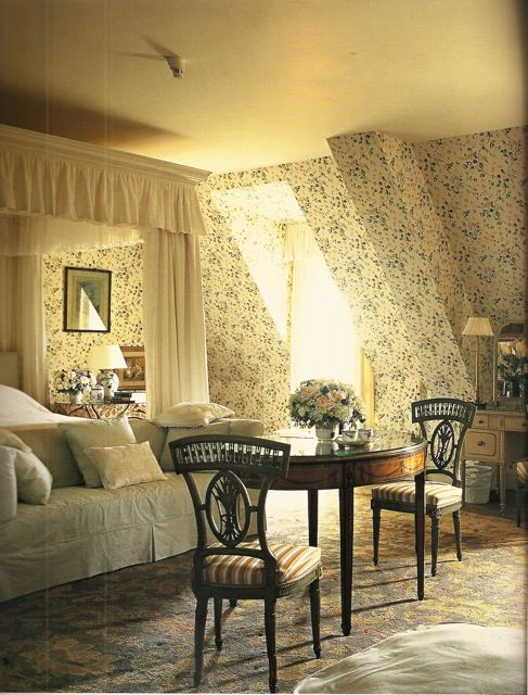 "David Mlinaric    This pretty ""Sweet Pea"" bedroom was newly made when redecorating Waddesdon Manor for Lord Rothschild ten years ago."