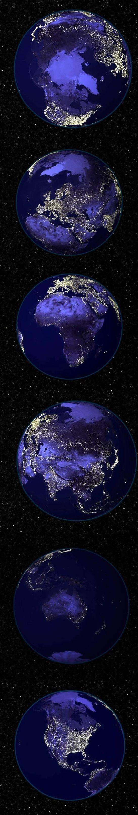 La Terra vista di notte dai satelliti della NASA mostra i maggiori agglomerati urbani del pianeta!