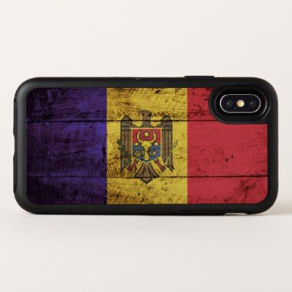 Moldova Flag on Old Wood Grain OtterBox Symmetry iPhone X Case - wood gifts ideas diy cyo natural