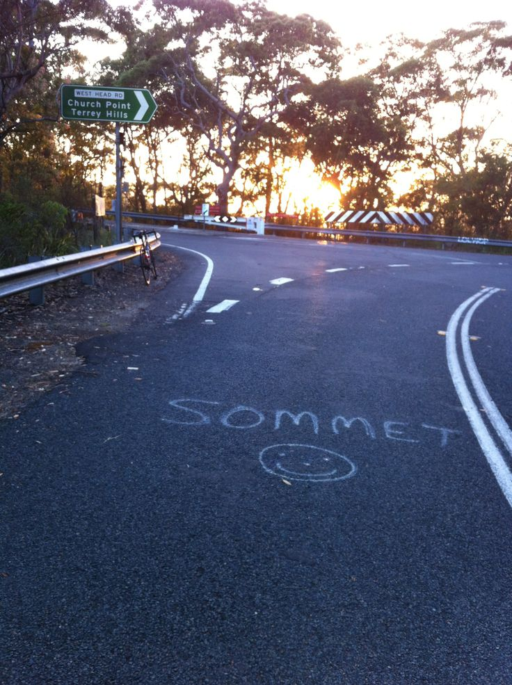 The top of the hill at Akuna Bay, Sydney. One of our beautiful training rides on the Northern Beaches.