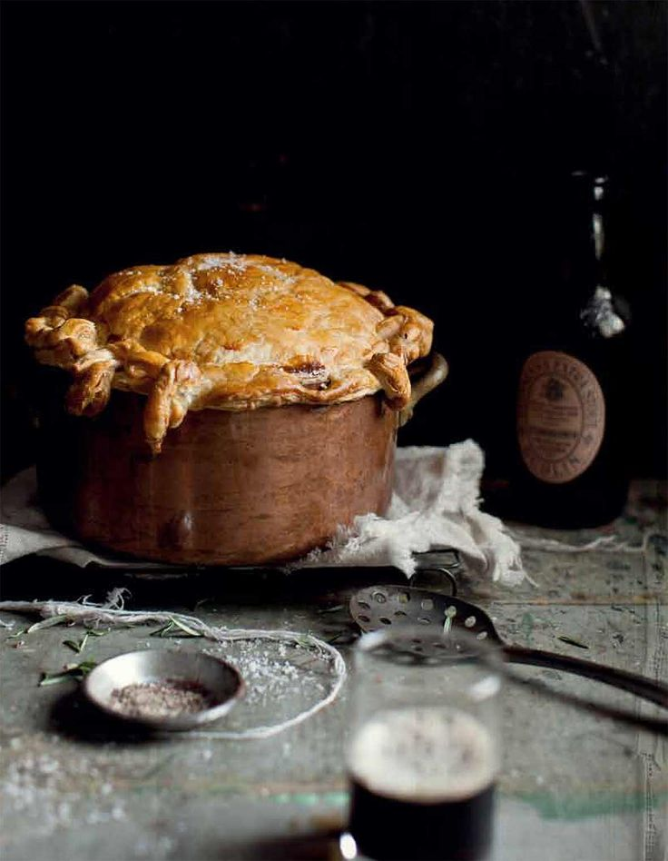 Beef and Guinness Pie Recipe Made for 25. Braised 7 lbs night before, otherwise followed sauce ingredients. Added cooked potatoes, carrots, pearl onions with beef in pan. Cooked puff pastry separately.
