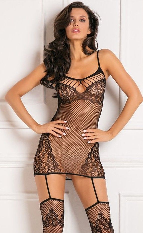 fa463b0f425 Rene Rofe To the Nines Chemise Bodystocking. Sheer seduction. To the Nines  Bodystocking featuring fishnet chemise with shredded bust and back