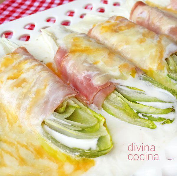 Esta receta de endivias gratinadas es muy sencilla y algo más ligera que los gratenes con salsa bechamel.