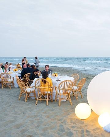 // reception on the beach