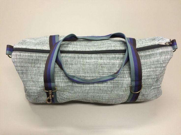 mod.3 - gray bag - gray/electric blue/dark brown stripes