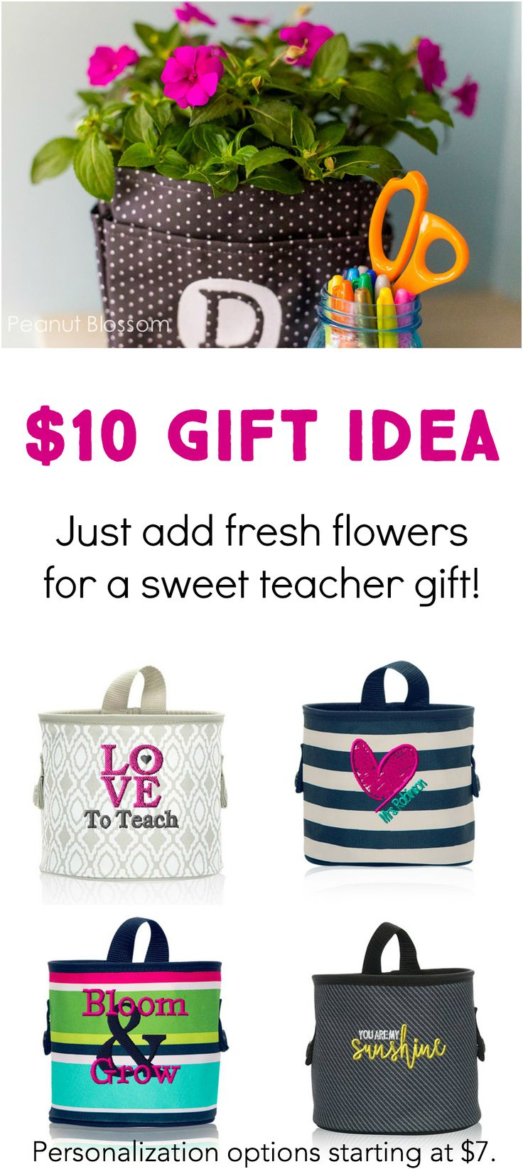 "What an adorable teacher appreciation gift idea for just $10! So simple and affordable. Just grab a Thirty One Gifrts Oh-Snap Bin in a summery pattern and fill it with a blooming plant for her yard. She can use the bin to hold pens and desk items the rest of the year! Personalize it with her name or a sweet message like ""You are my sunshine!"" with a baby sunflower plant. Too cute!"