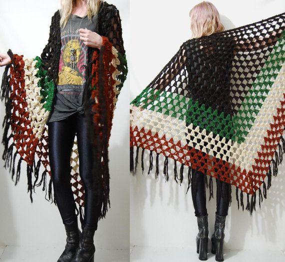 crochet 70s vintage shawl cape poncho fringe tassel knit. Black Bedroom Furniture Sets. Home Design Ideas