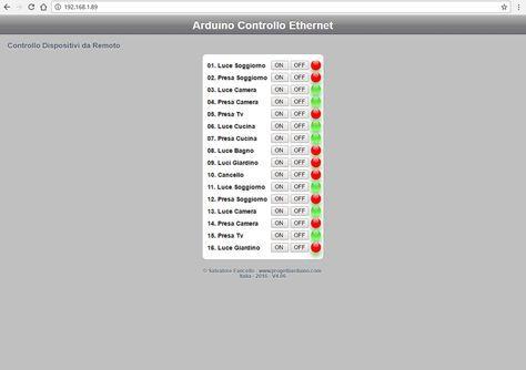 Arduino ethernet shield 16 channel web server