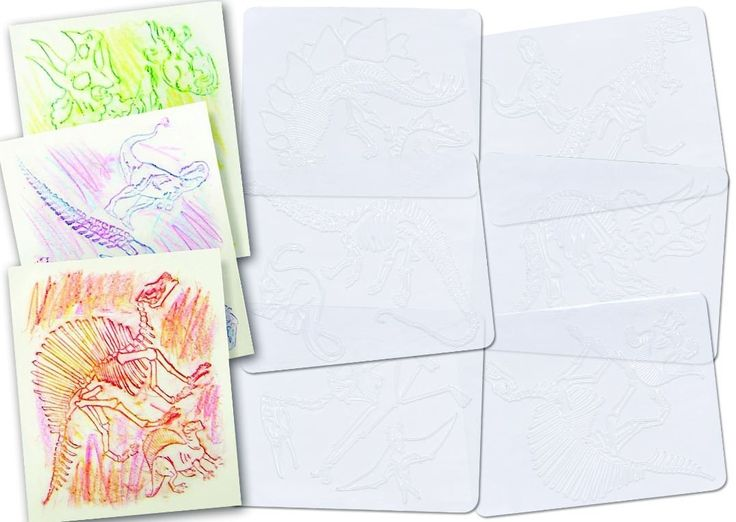Dinosaur Skeleton Rubbing Plates - 6 Pack Made in USA by Roylco. We use these for Dinosaur Week to make books.