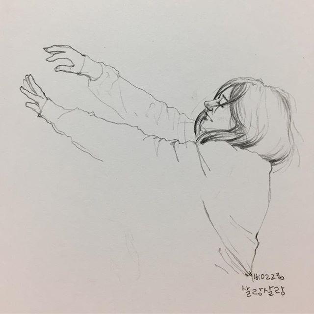 하늘하늘 바람바람 #취미 #낙서 #그림 #드로잉 #스케치 #바람 #hobby #doodle #drawing #sketch #wind #woman