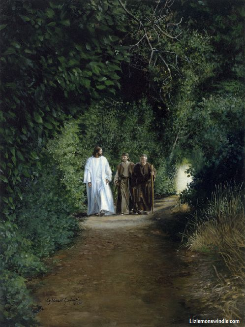 "Road To Emmaus By Liz Lemon Swindle We are often like the disciples. We let the worries of the day keep us from recognizing that the Savior is walking alongside us. We are quick to treat our trials as curses, instead of trusting that with God´s perspective our ""curses"" may actually be blessings. May we be more willing to wait upon the Lord, and may we see things as they really are as we walk our own roads to Emmaus…"