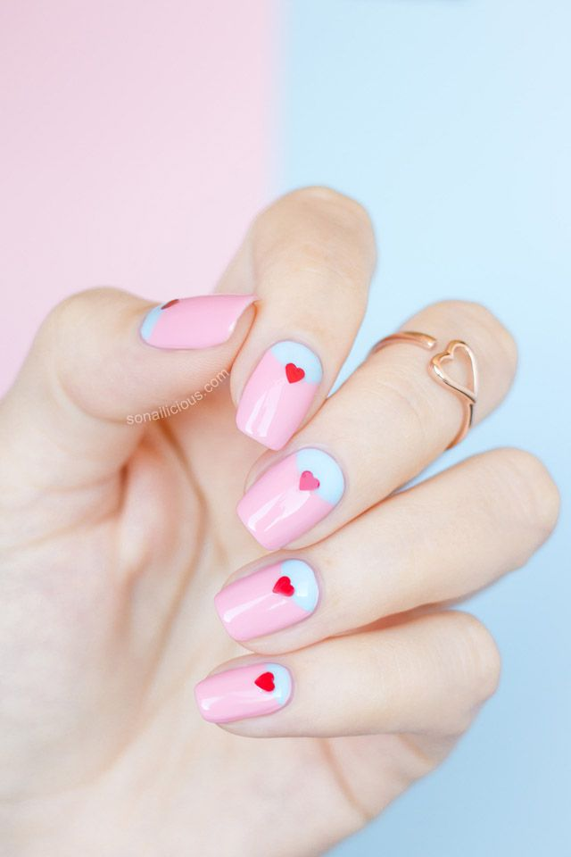Cute Valentine's Day nails - HOW-TO: http://sonailicious.com/easy-valentines-day-nail-ideas-ncla-heartbreaker/