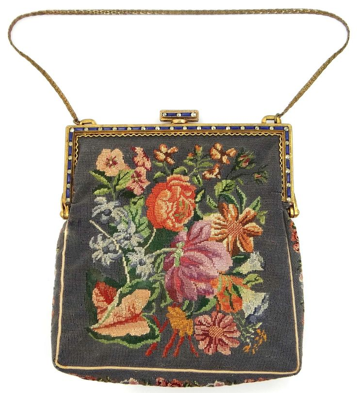 Austria Marcasites Jeweled Frame Petit Point Handbag Purse from mur-sadies on Ruby Lane