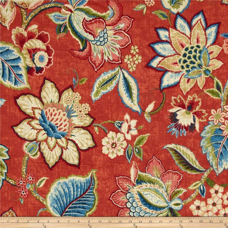 Waverly Brighton Blossom Gem from @fabricdotcom  Screen printed on a linen/rayon blend this medium/heavyweight fabric is very versatile and perfect for window treatments (draperies, valances, curtains, and swags), toss pillows and upholstery. Colors include navy, blue, tan, gold, coral rose, green, ochre, red, ivory and paprika. This fabric has 15,000 double rubs.