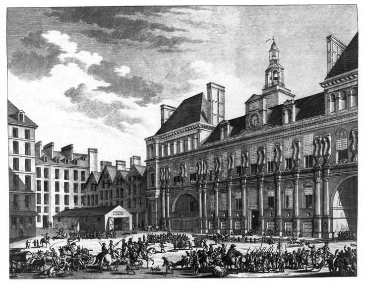 (1794, July 27) Attack on the Hôtel de Ville, a Jacobin stronghold during the Thermidorian Reaction. (Image - 1823)