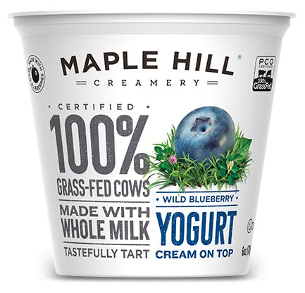 Maple Hill Creamery - 100% Grass-Fed Cream On Top Wild Blueverry Yogurt. Made with whole milk, no fillers or artificial flavors.