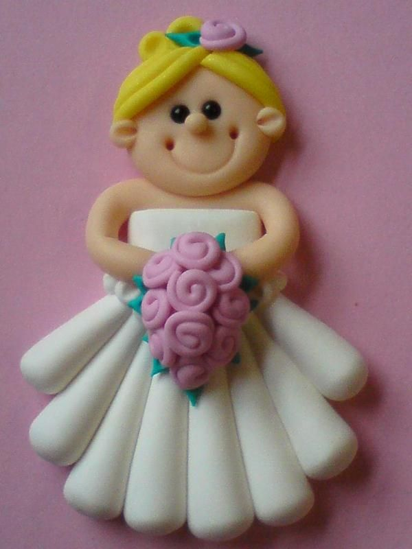 She is making figurines out of modelin clay, pretty cool ideas to use with fondant or gum paste