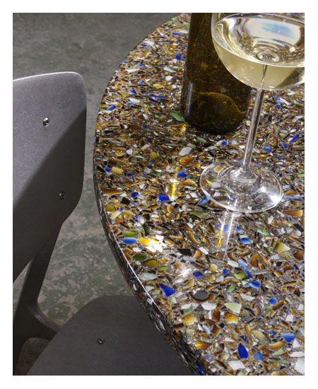 Recycled Glass Countertops - Thinking about doing grey concrete w green heineken bottles in the kitchen