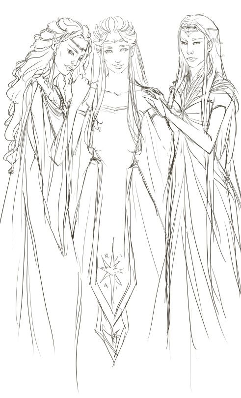 tajmahart  Daughters of Finwë, in progress!    I'm so excited! They're sisters so of course they should be drawn together sometime! I'm actually really happy with their designs too :