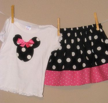 Disney Inspired Minnie Mouse Outfit  Baby Toddler by LilLaineyBug.  Addy would look so cute in this...