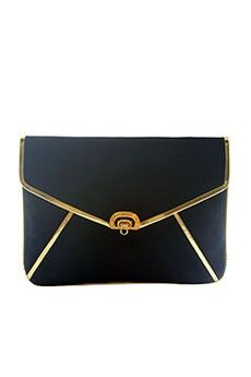 Black Envelope Clutch With Gold Piping