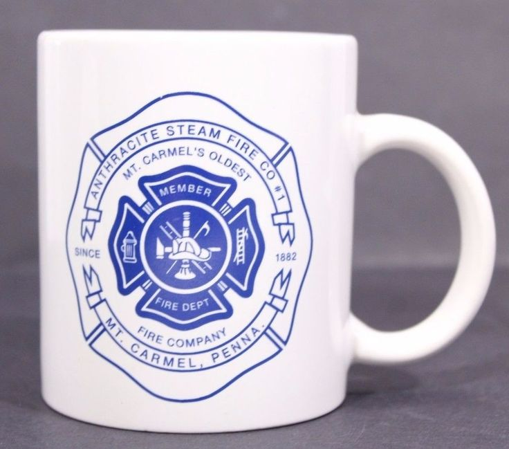 Mt Carmel PA Fire Company Coffee Mug Cup Anthracite Steam Fire Co #1 White Blue #unknown