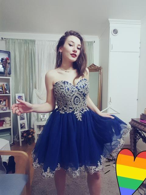 4a835fe13de 2019 Short Homecoming Dresses A-Line Sweetheart Net Dark Navy ...